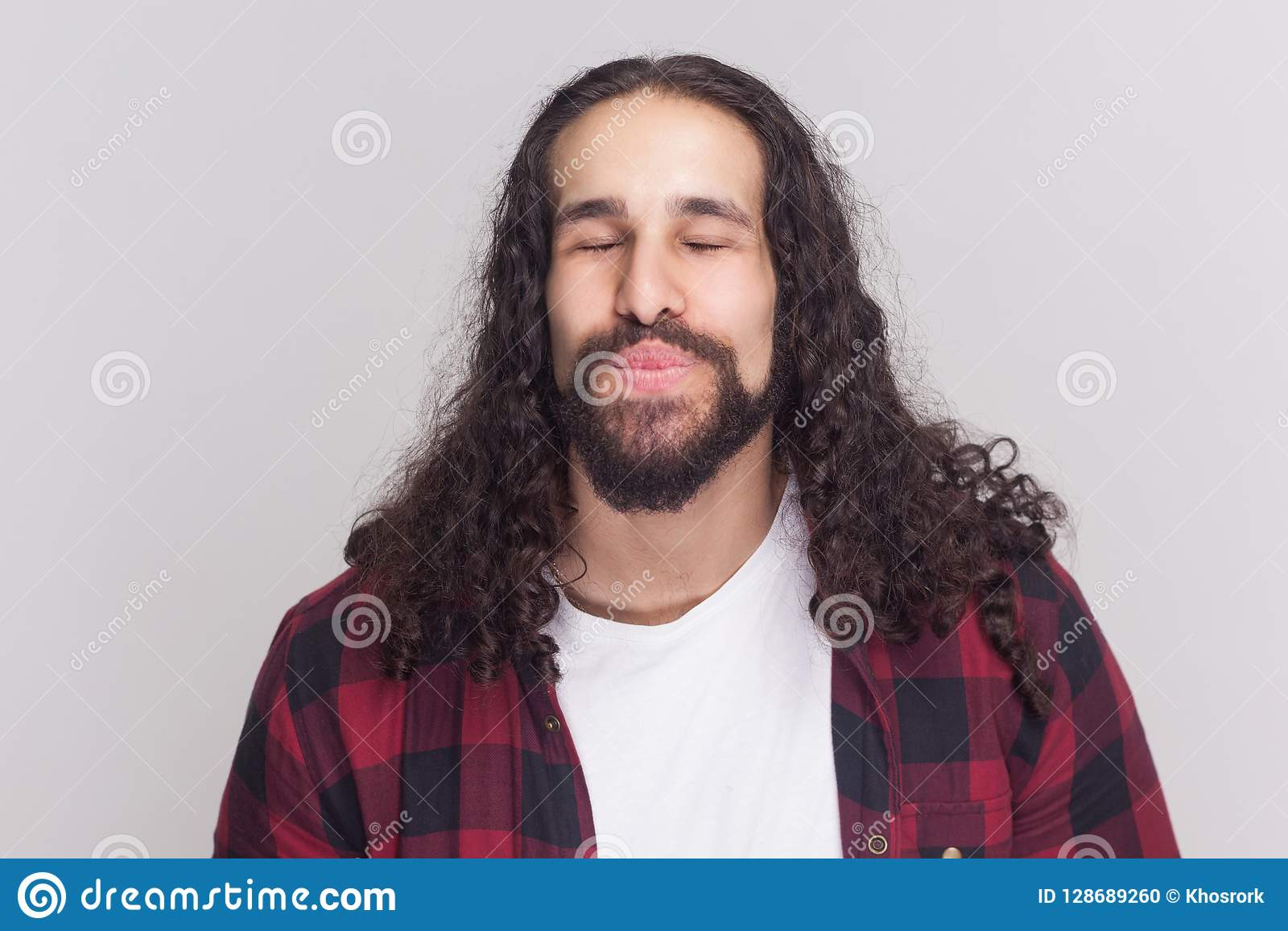 Groovy Funny In Love Handsome Man With Beard And Black Long Curly Hair Schematic Wiring Diagrams Amerangerunnerswayorg