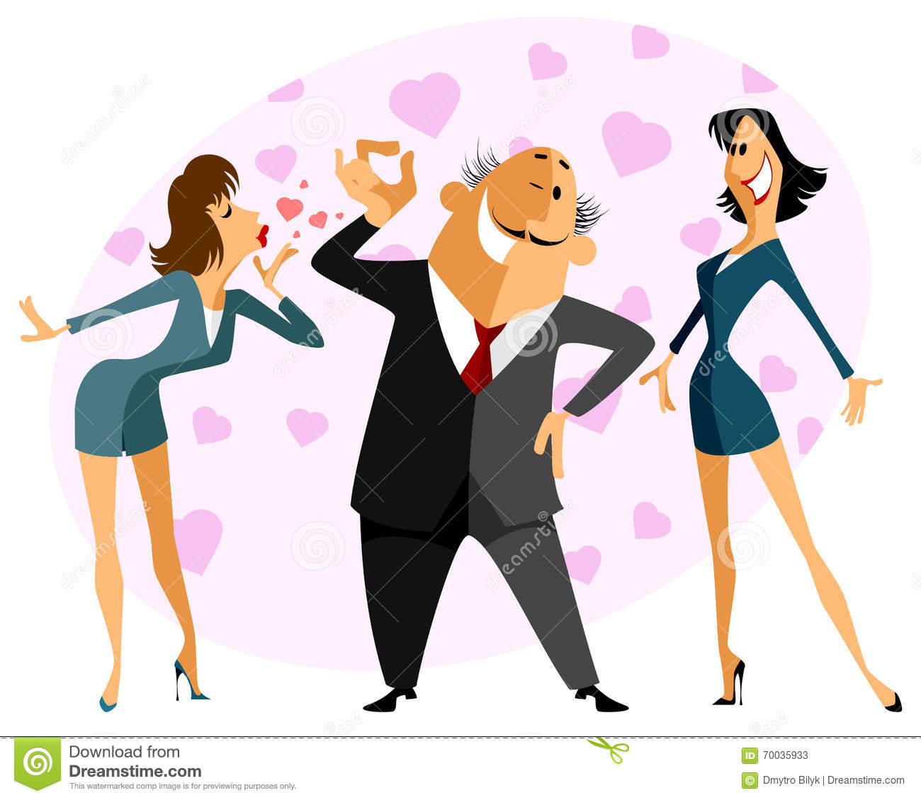 Funny love triangle stock vector. Image of jealous ...