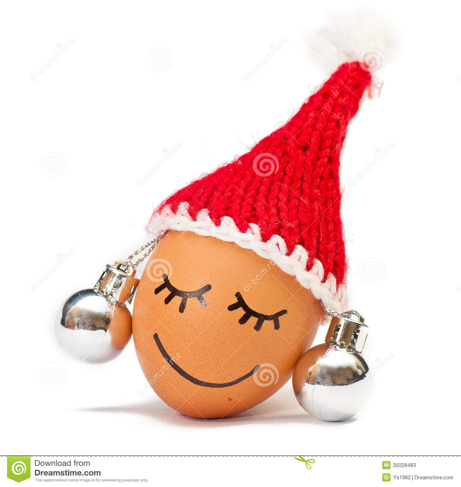 5c25ea87b21d1 Funny Lovely Egg In Winter Santa Hat And Ball Lika A Earring Stock ...