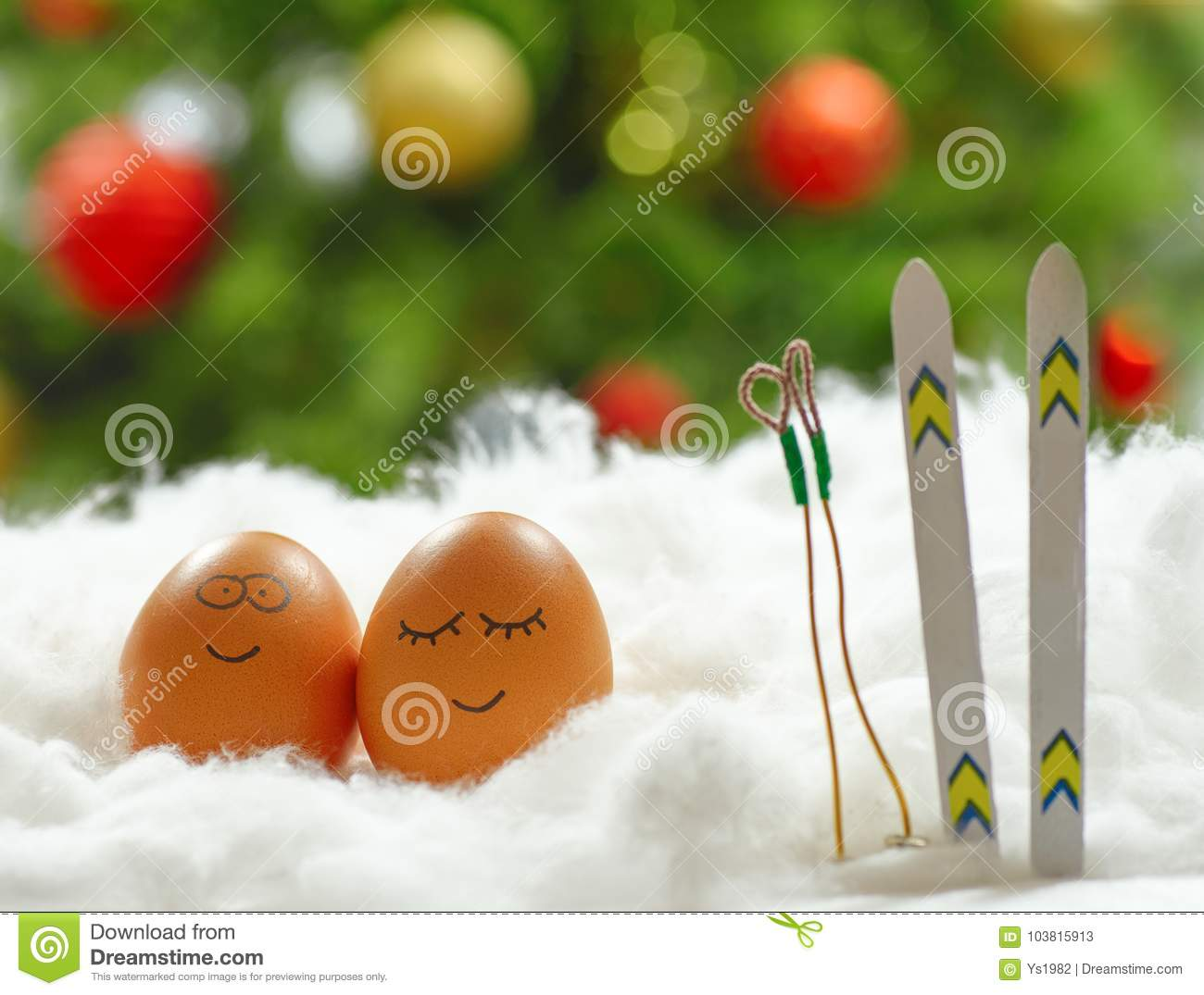 bb5d03a85a827 Funny Lovely Eggs With Ski In Snow Stock Image - Image of lovely ...