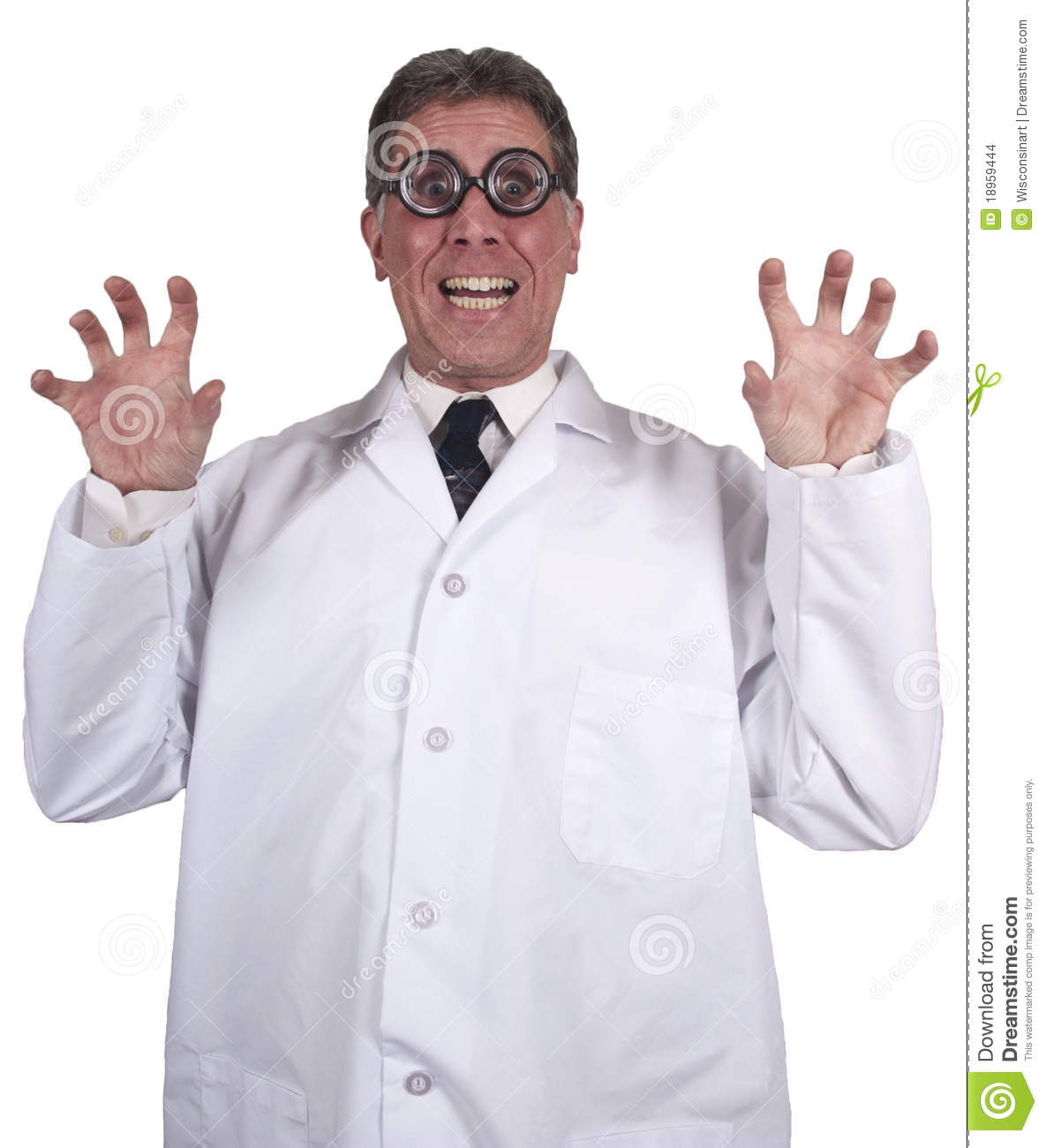 Funny Mad Scientist Crazy Doctor Isolated On White Stock Images