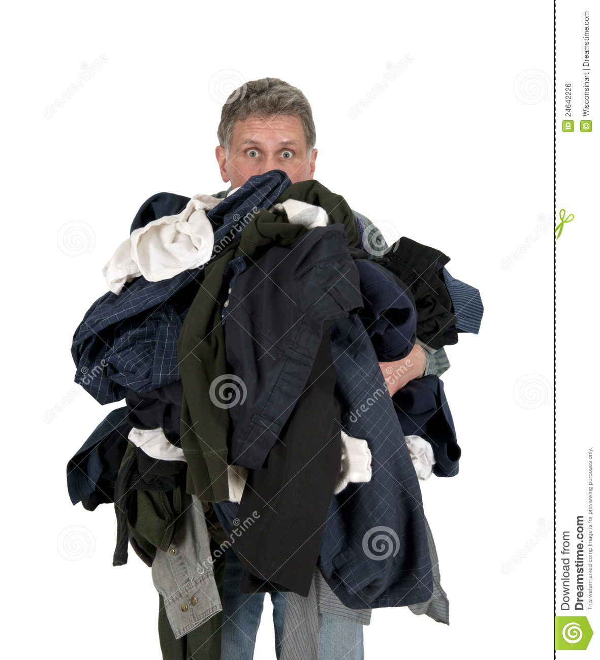 Funny Man Armload, Clothes, Dirty Laundry Isolated Royalty Free Stock ...