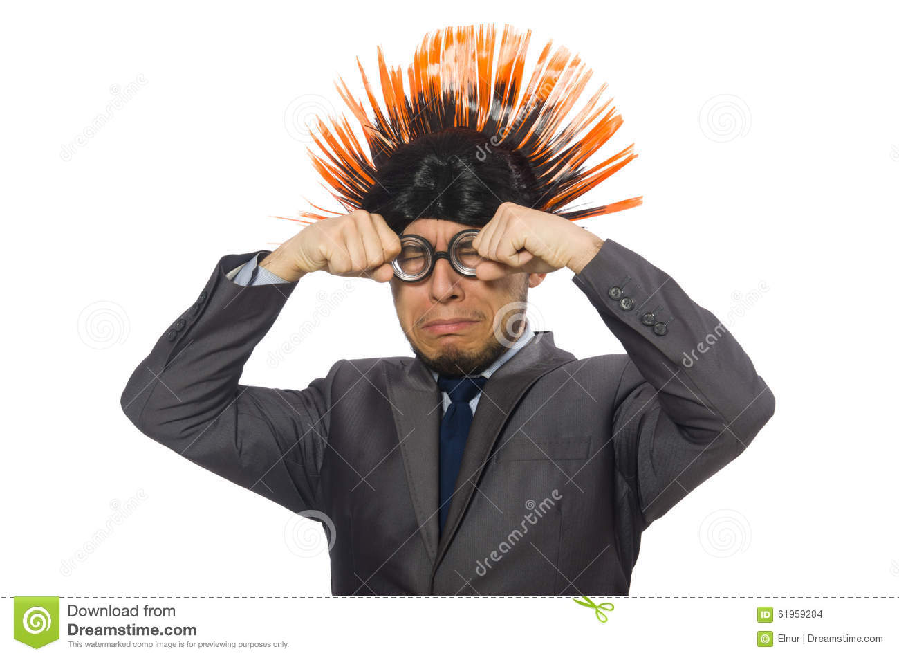 The Funny Man With Mohawk Hairstyle Stock Photo Image Of