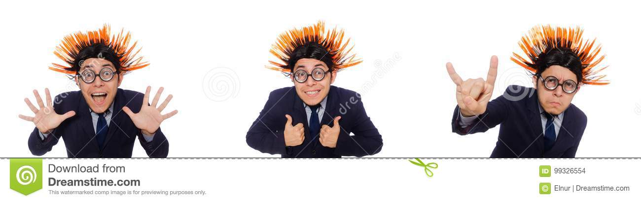 The Funny Man With Mohawk Hairstyle Stock Photo Image Of Comic