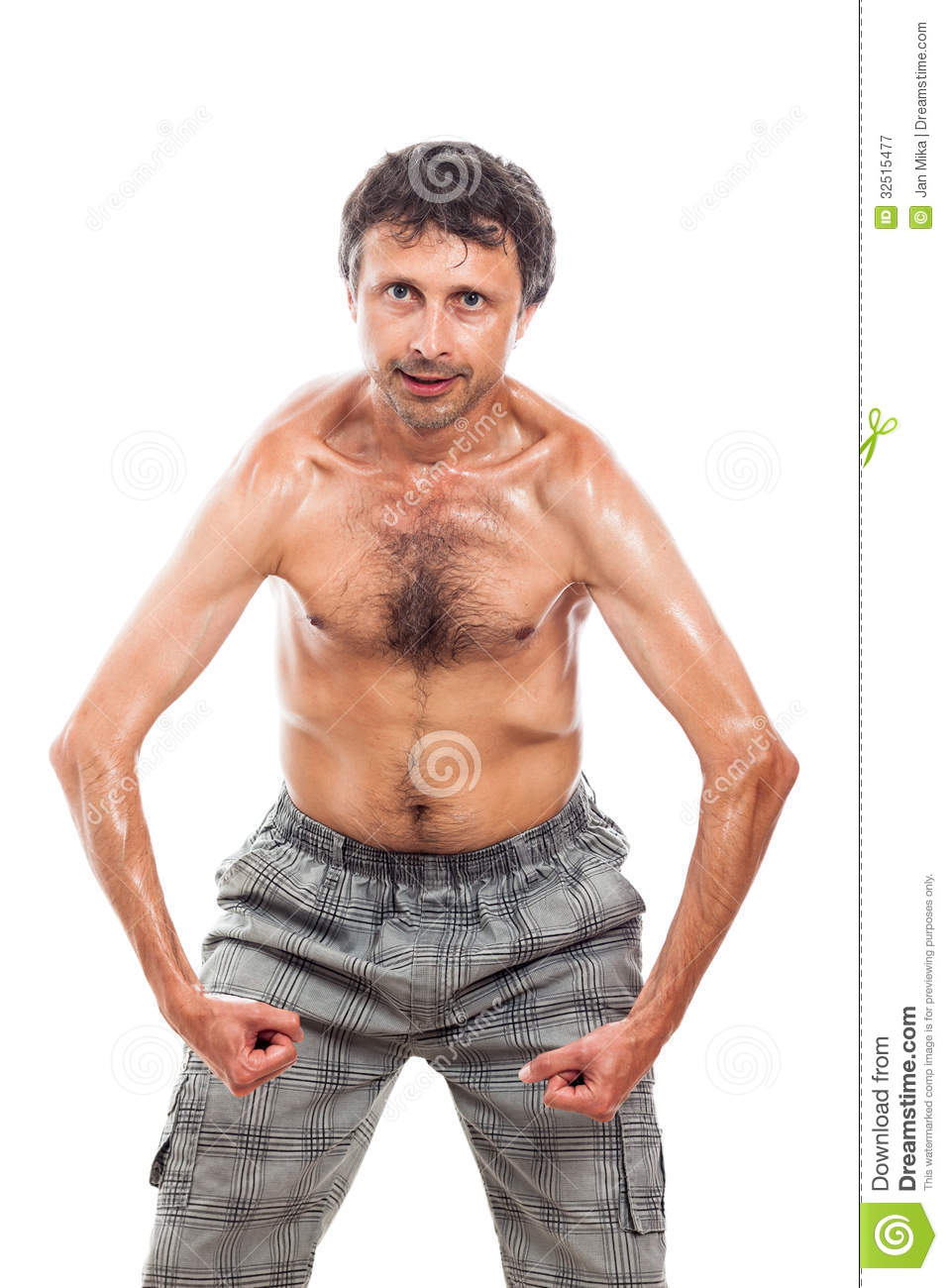 Funny shirtless man showing his body, isolated on white background.