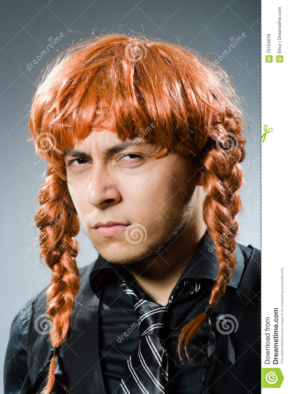 The Funny Man With Red Hair Wig Stock Image - Image of plait c797b5744371