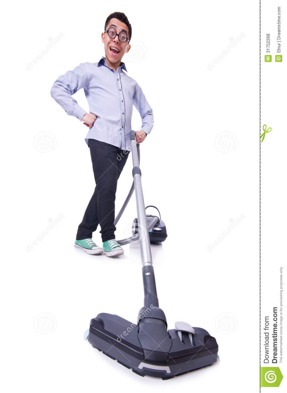 Funny Man With Vacuum Cleaner Stock Photo Image Of