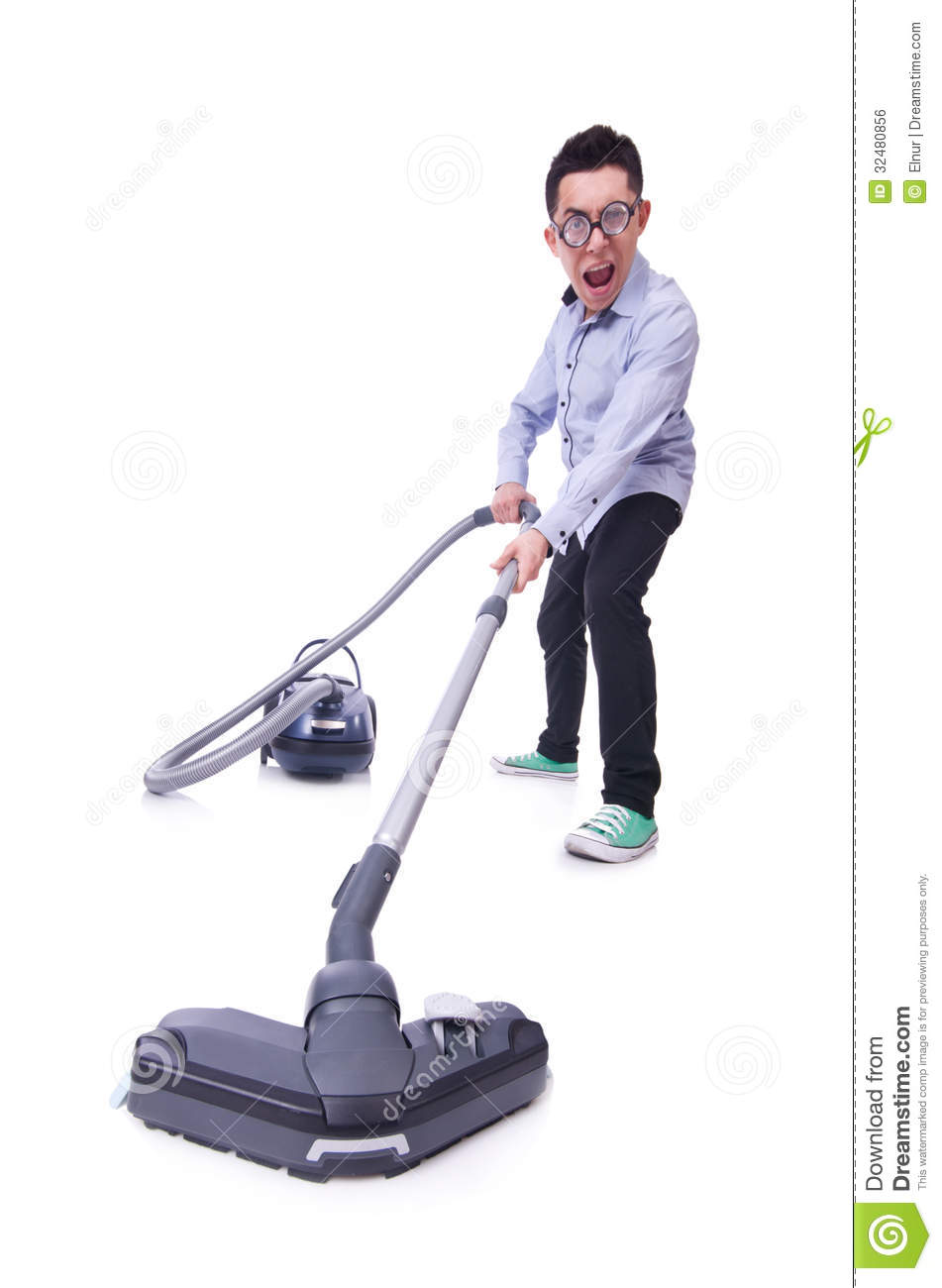 Funny Man With Vacuum Cleaner Royalty Free Stock Image