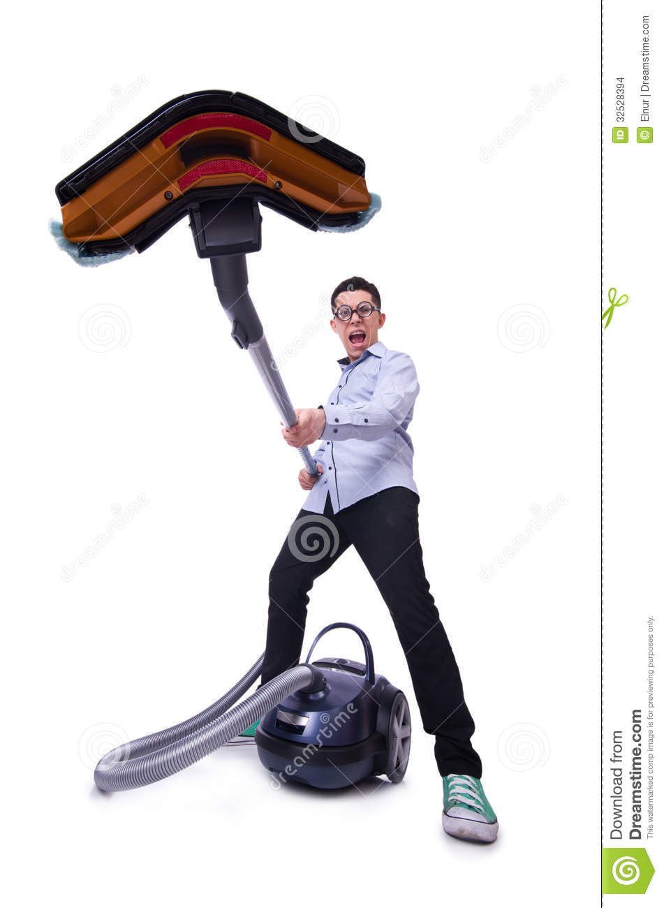 Funny Man With Vacuum Cleaner Stock Images Image 32528394