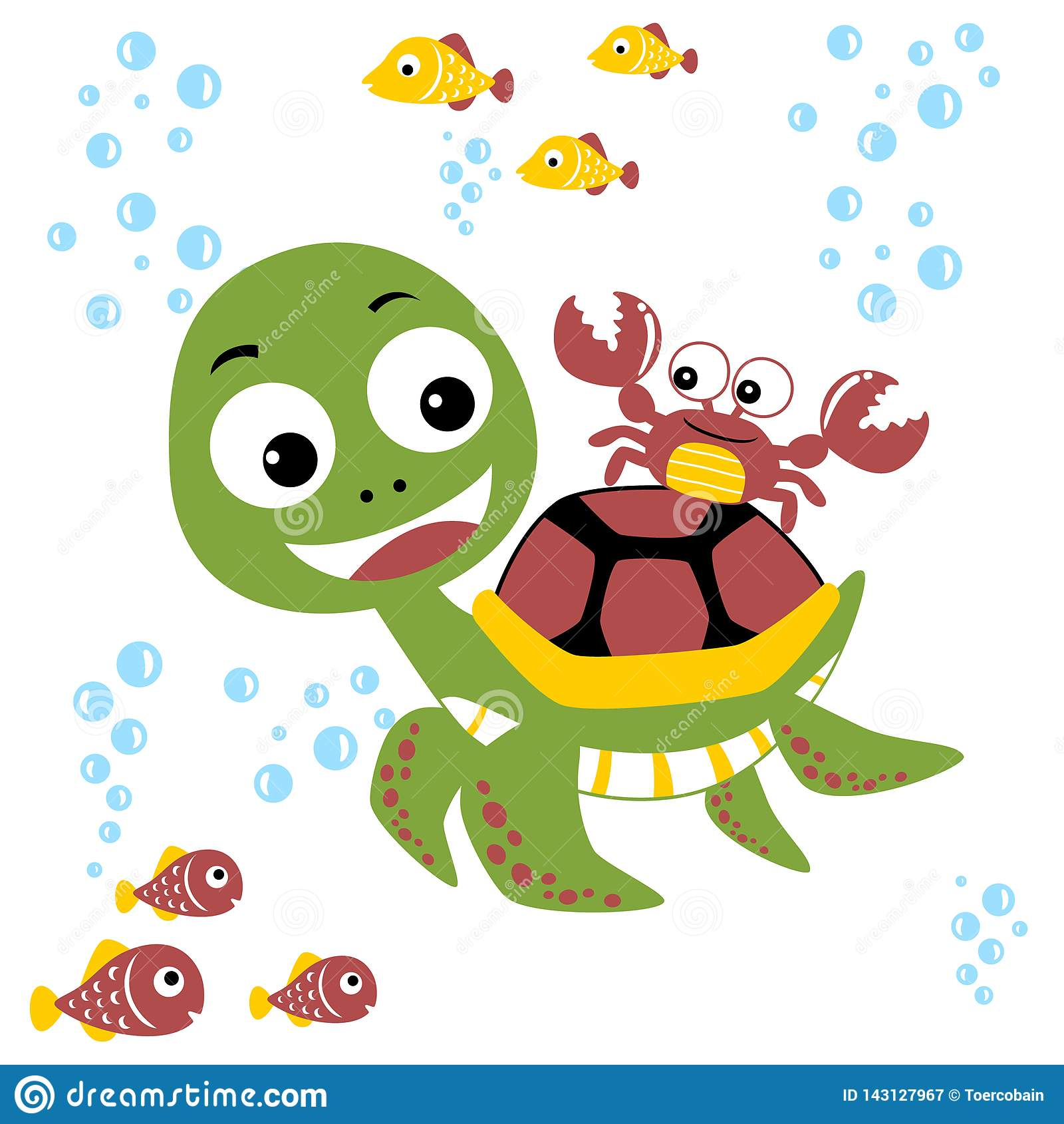 funny marine life cartoon underwater on white background