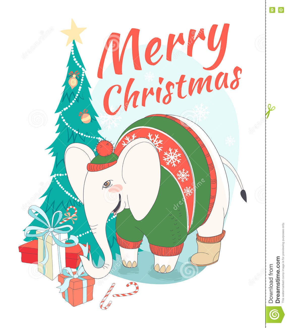 download funny merry christmas card with elephant wearing cute sweater an stock vector illustration of - Funny Merry Christmas Images