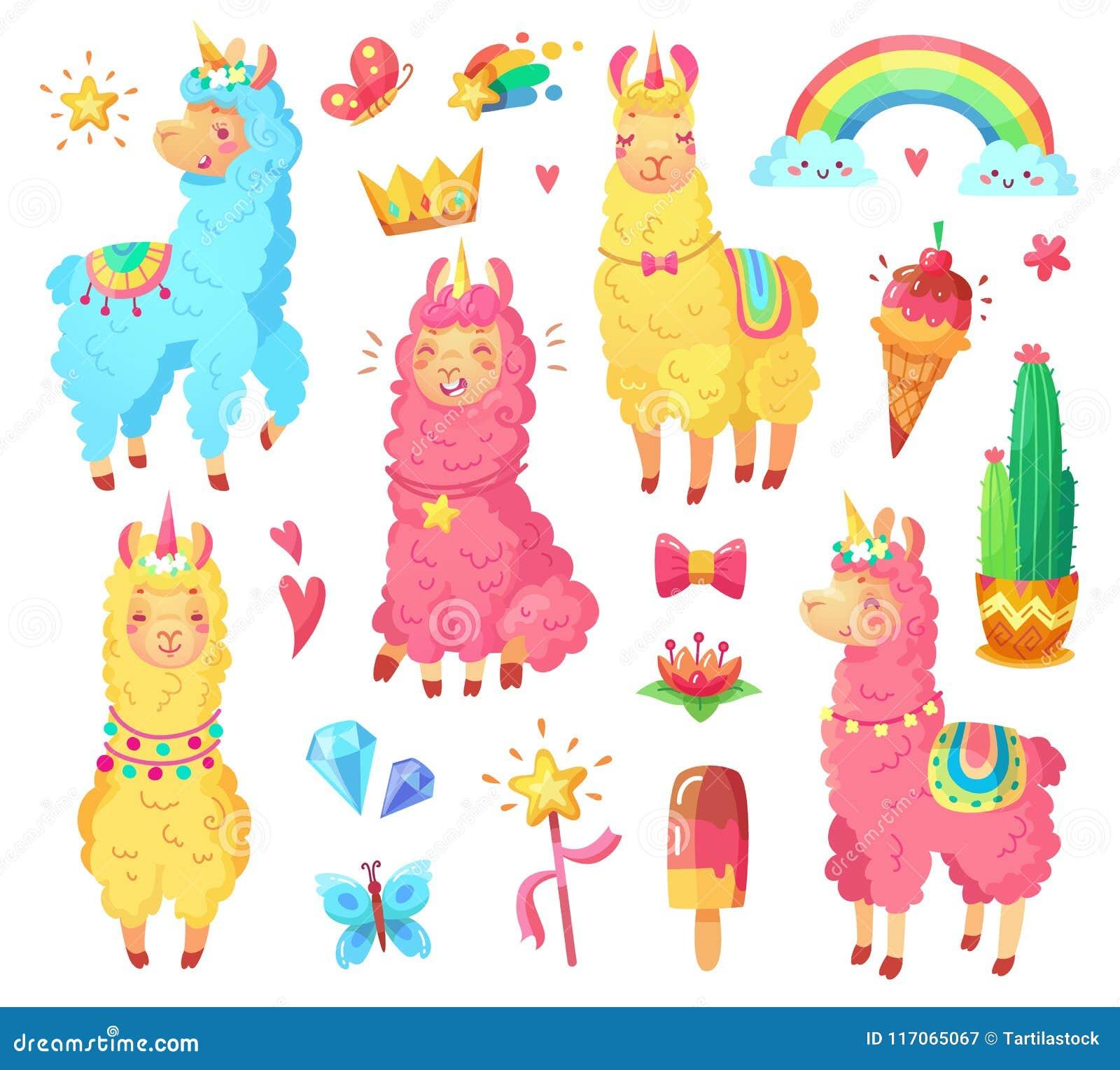 Funny mexican smiling alpaca with fluffy wool and cute rainbow llama unicorn. Magic pets cartoon illustration set