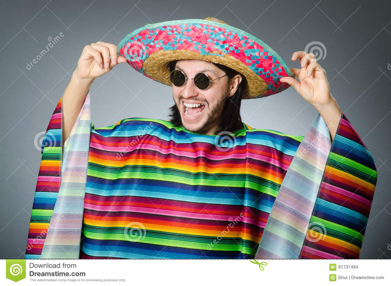 dc253220bd6 The Funny Mexican Wearing Sombrero Hat Stock Photo - Image of happy ...
