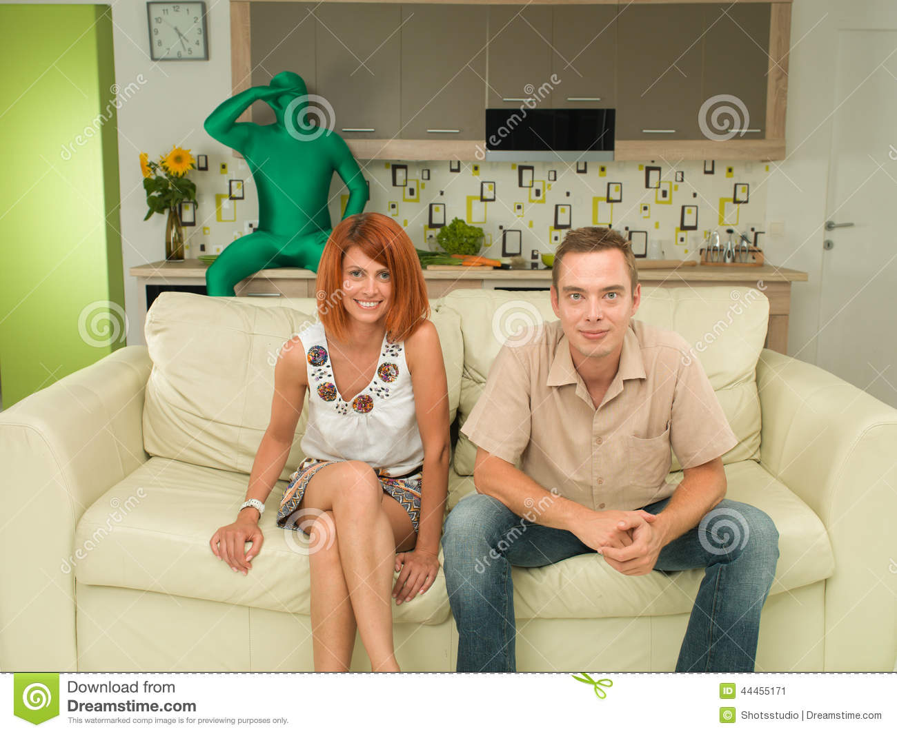Funny Moment Couple Watching Tv Stock Image