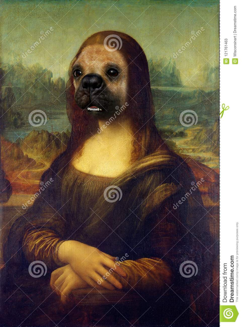 Funny Mona Lisa Dog Face Painting Spoof