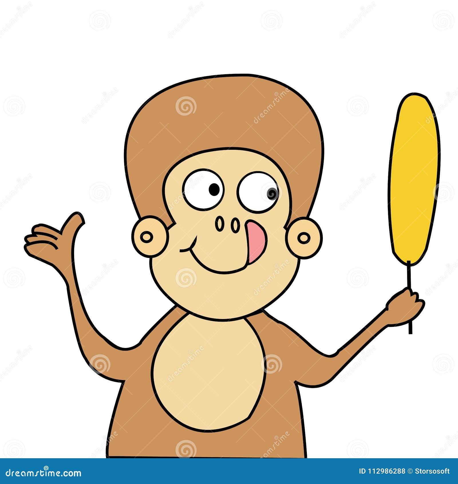 Funny monkey and banana cartoon vector