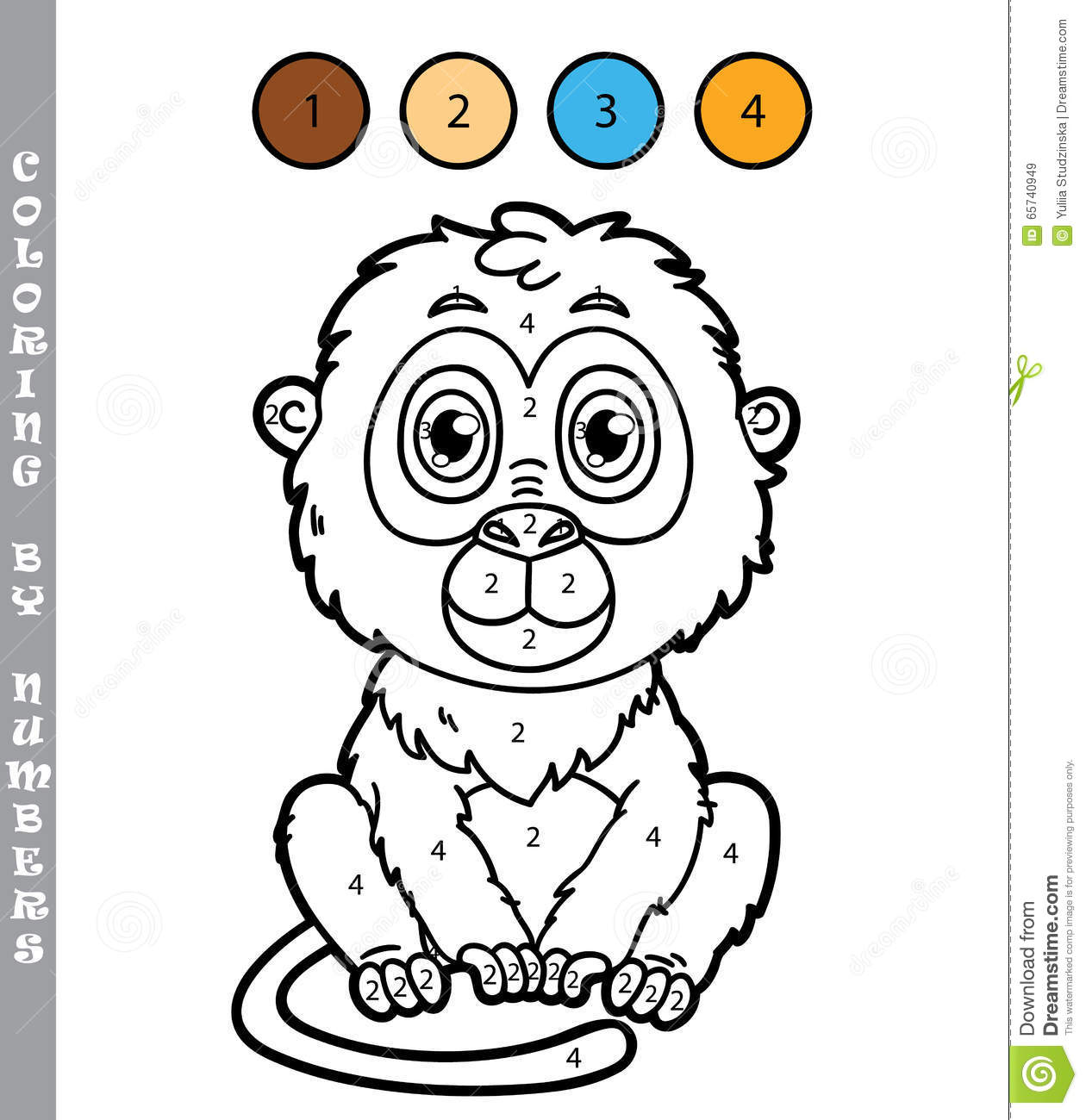 Funny Monkey Coloring Game. Stock Vector - Illustration of character ...