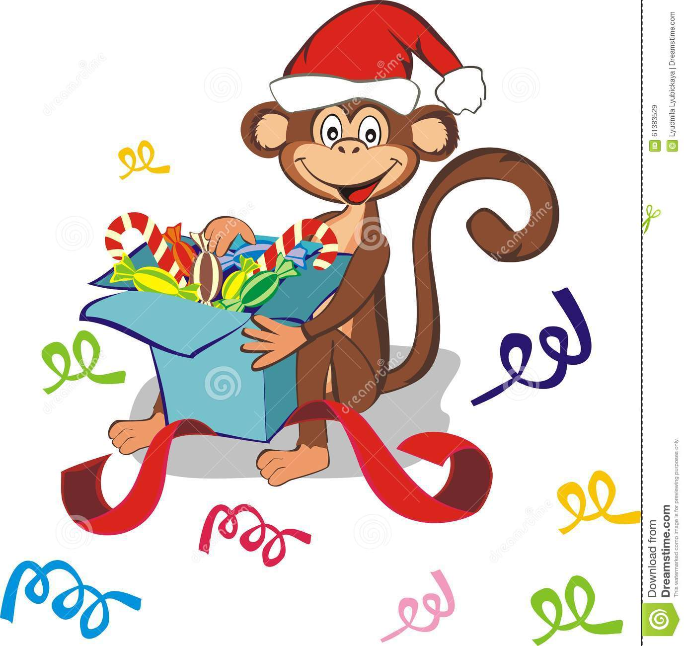 Happy monkey in a gift box stock image image of background 1354221 funny monkey with gift box royalty free stock images buycottarizona Gallery