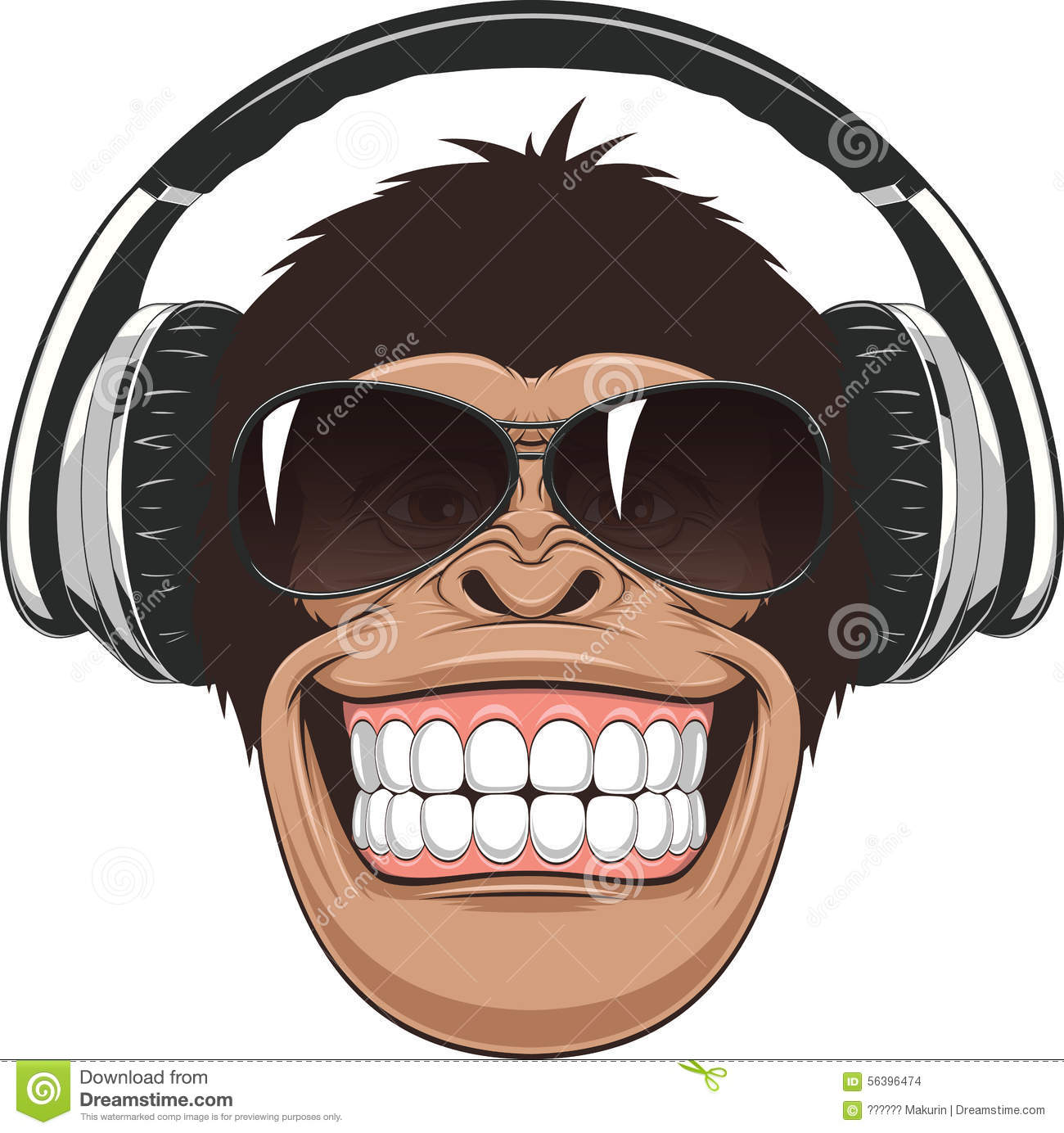 ... illustration,funny chimpanzee in colored glasses and headphones