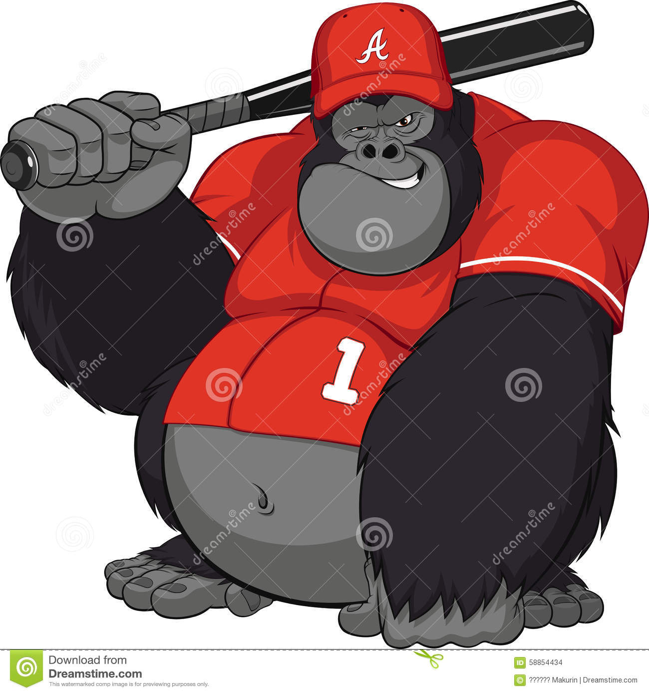 Vector illustration, funny gorilla with a baseball bat.