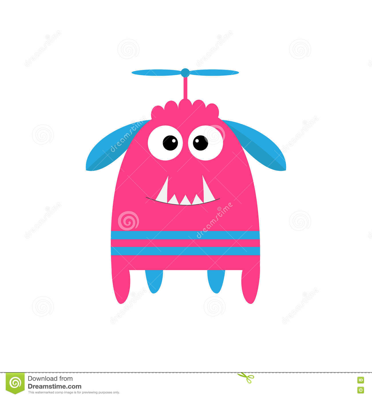 Funny Monster With Fang Tooth And Horns. Cute Cartoon Character ...