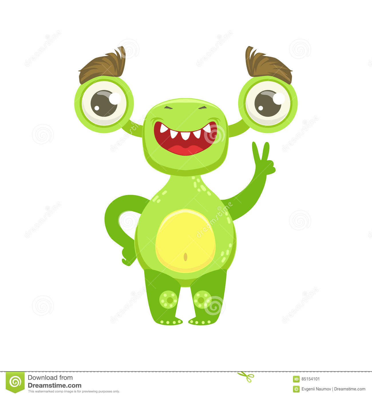 Funny Monster Smiling And Showing Peace Gesture, Green Alien