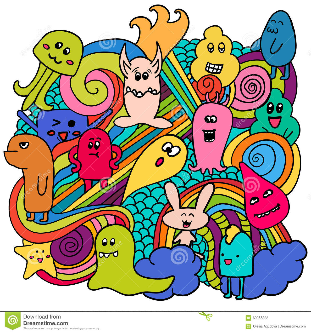 funny monsters graffiti hand drawn sketch art doodle vector