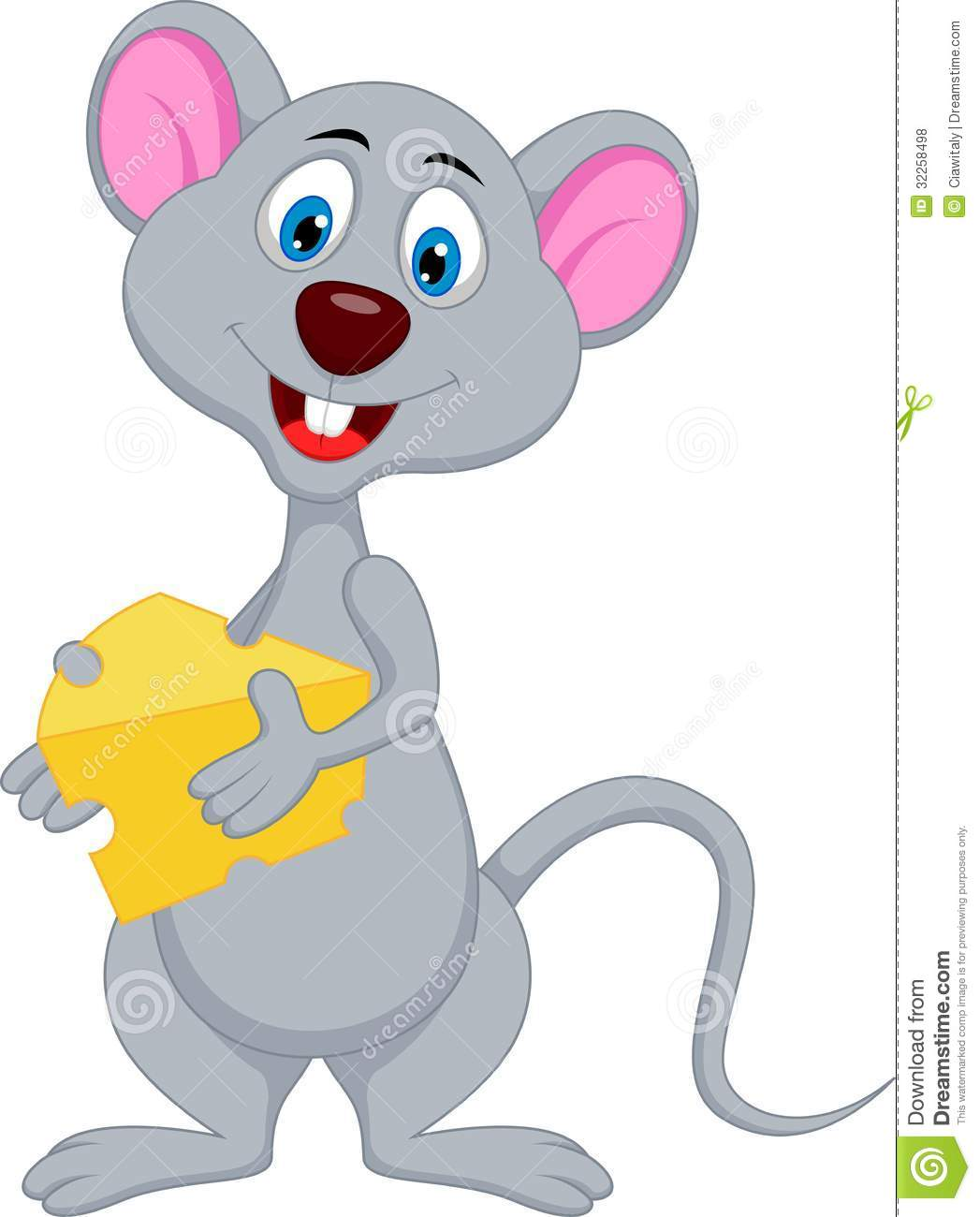 Funny Mouse Cartoon Holding Cheese Stock Vector ...