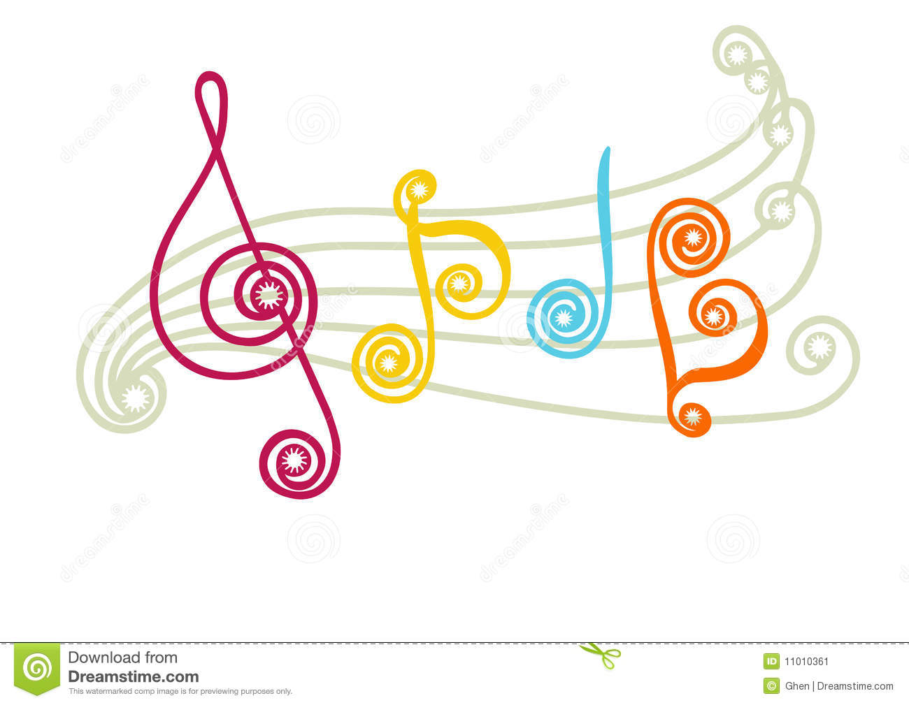 Vector illustrations of musical lines, notes and clef.
