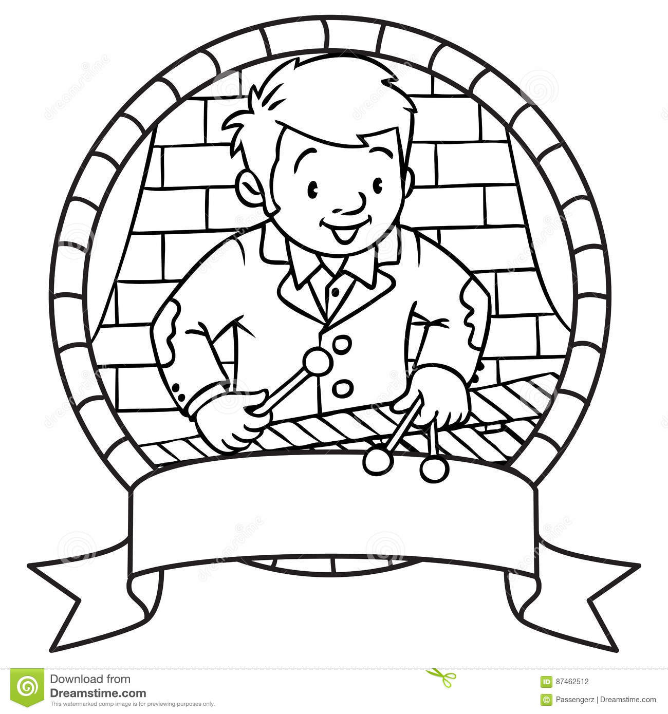 Funny Musician Or Xylophone Player Emblem Coloring Book