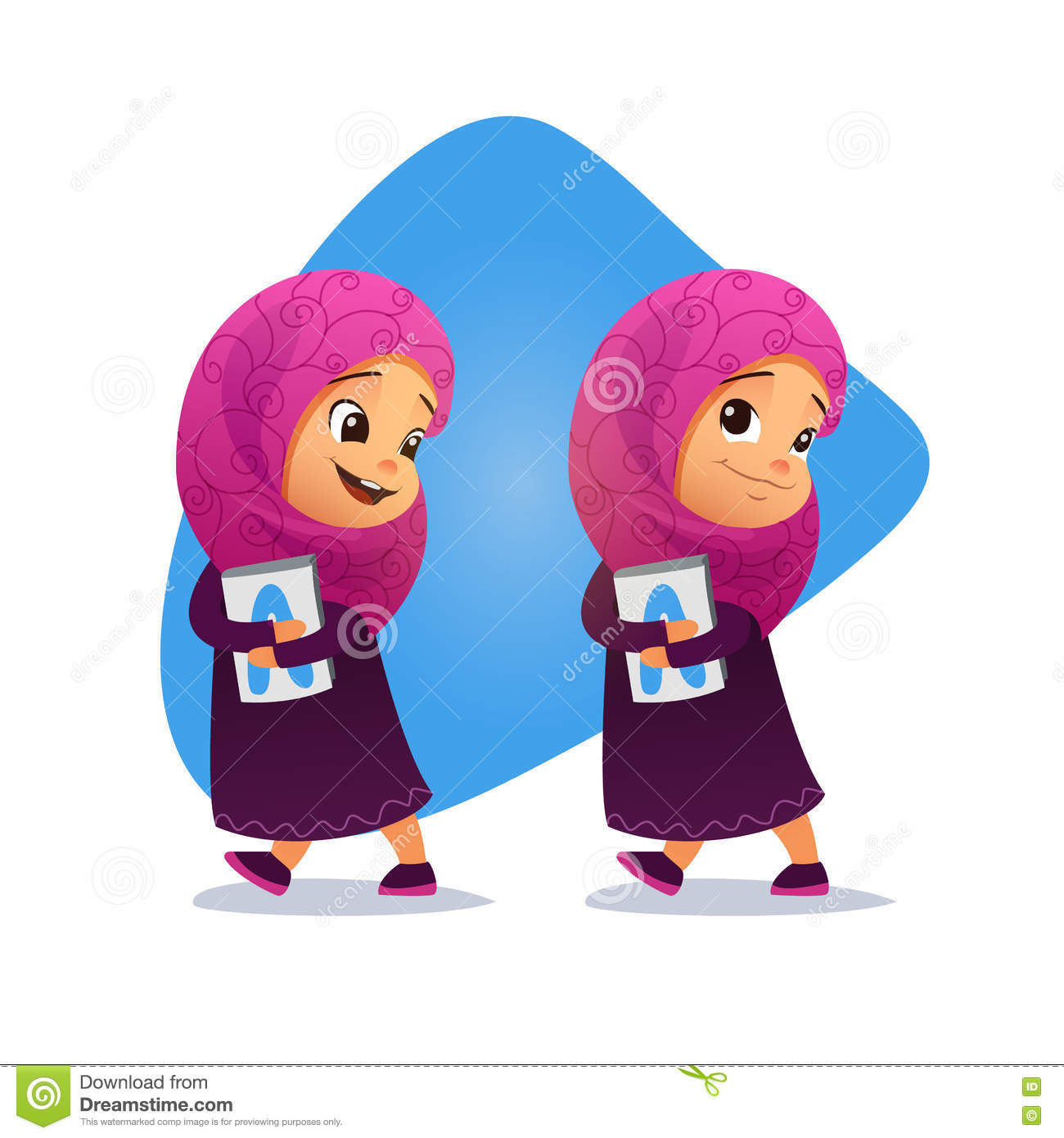 Funny Muslim little girl going with a book