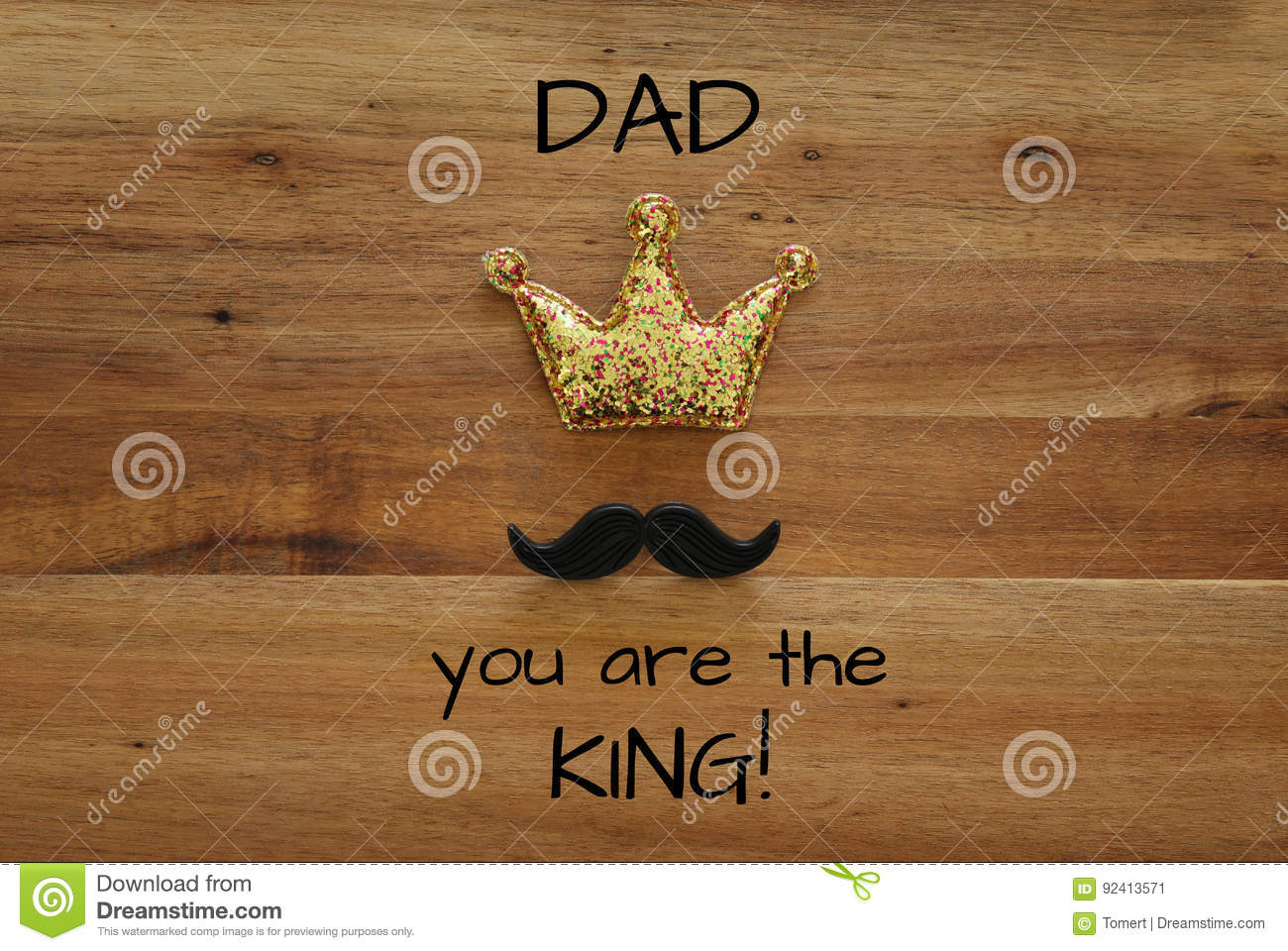 funny mustache and glitter crown. Father& x27;s day concept