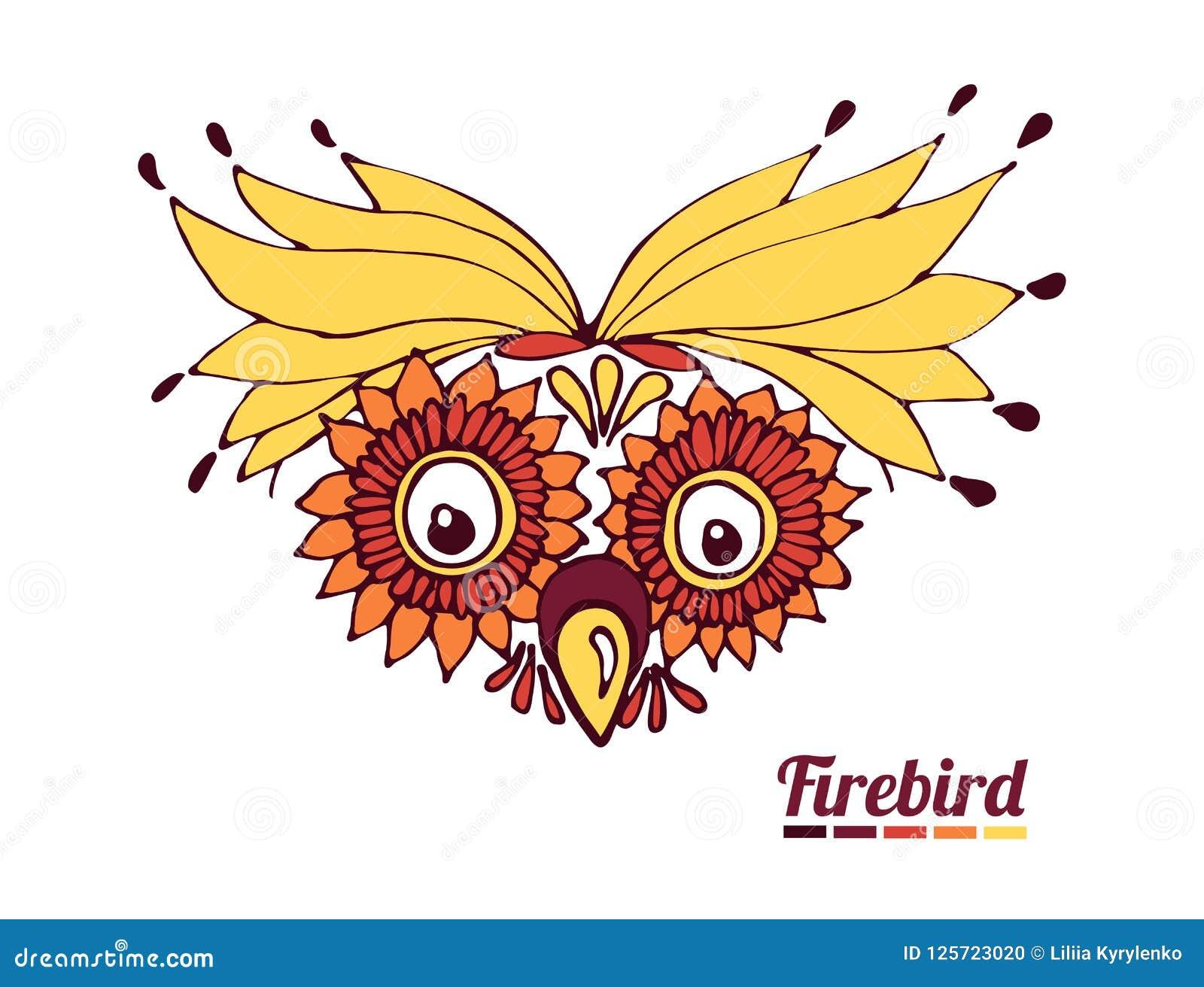 funny muzzle firebird. a fantastic parrot or an owl