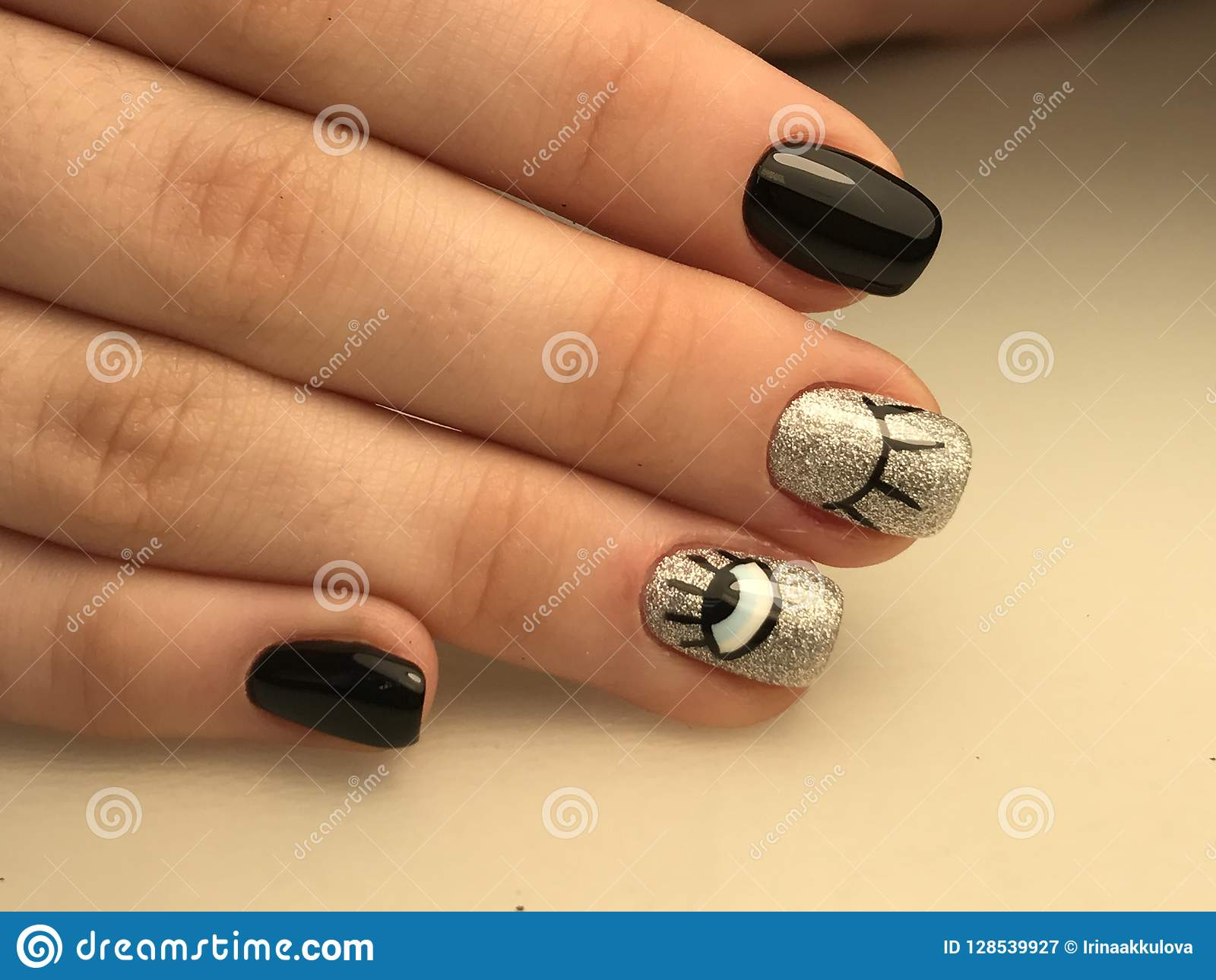 Funny Nail Art For Halloween Stock Image Image Of Glitter
