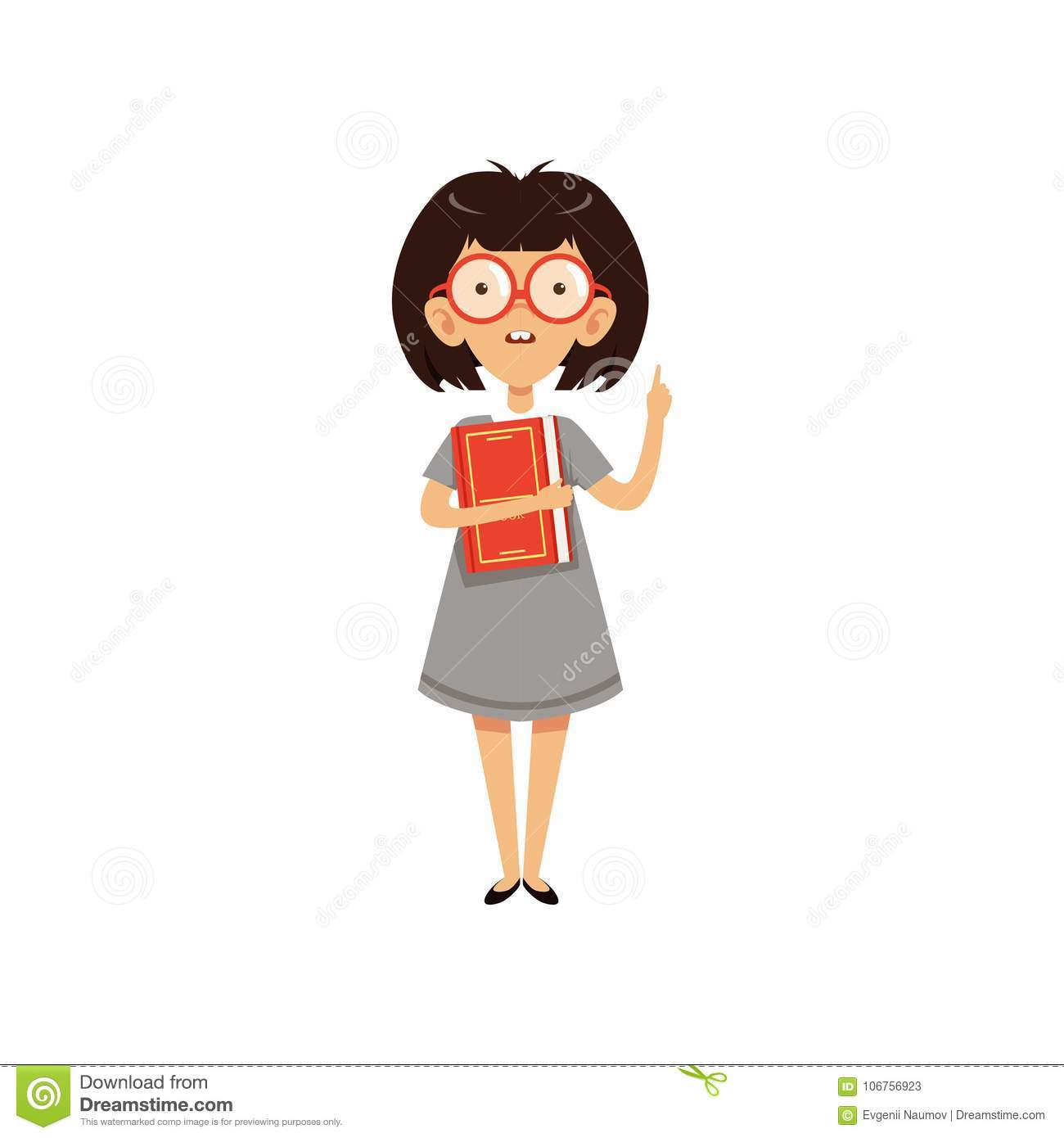 Funny Nerd Girl Holding Book And Index Finger Up Cartoon Character