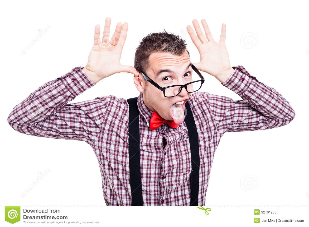 Funny Nerd Sticking Out Tongue Stock Photo - Image: 32761250