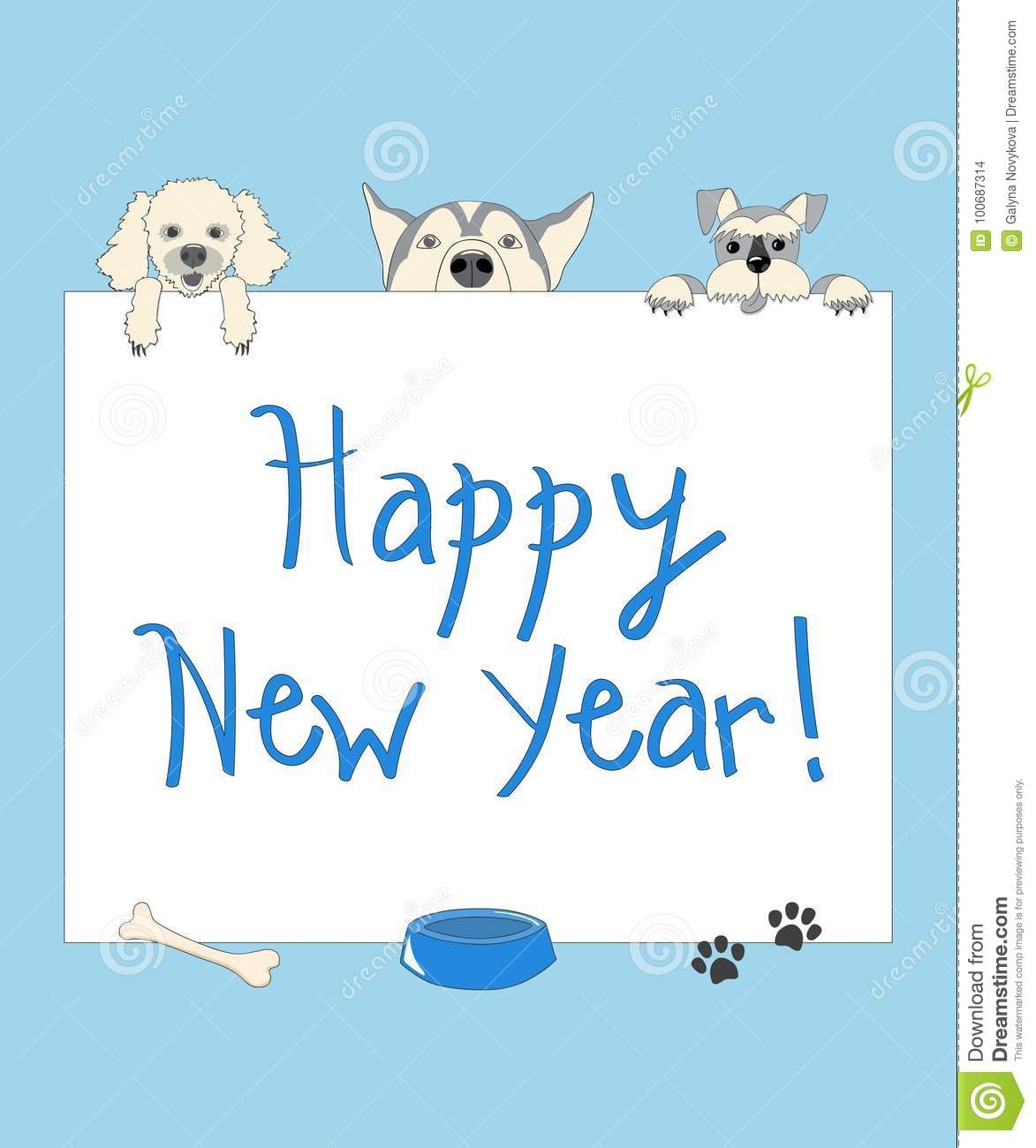Funny New Year Blue Card With Cartoon Dogs Stock Vector ...
