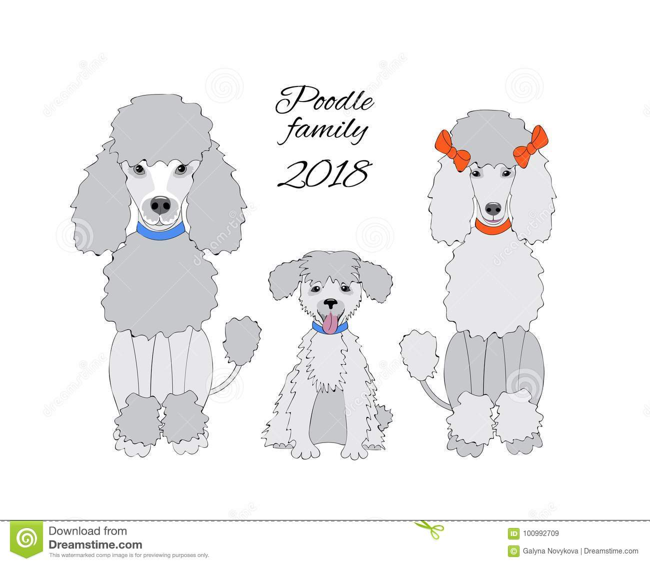 Funny New Year Card With Poodle Family Stock Vector - Illustration ...