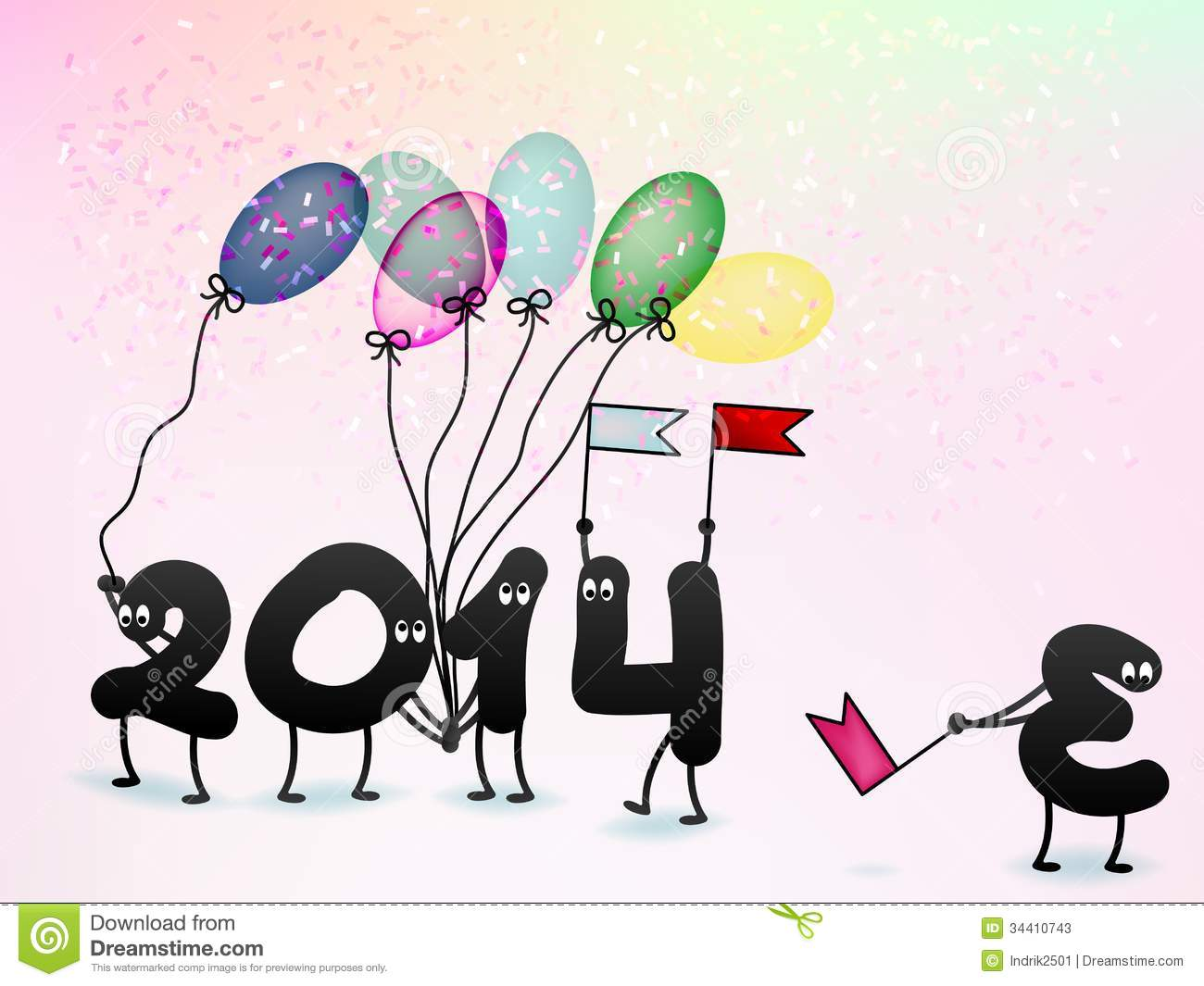 Funny 2014 New Year\'s Eve Greeting Card. + EPS10 Stock Vector ...