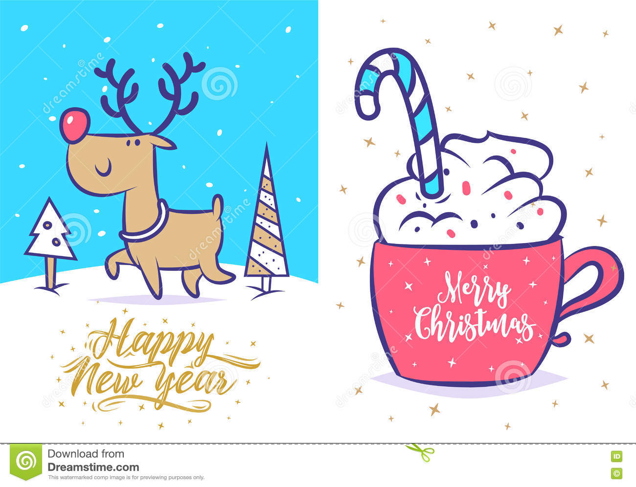 Funny New Year Set Christmas Greeting Card Background Poster