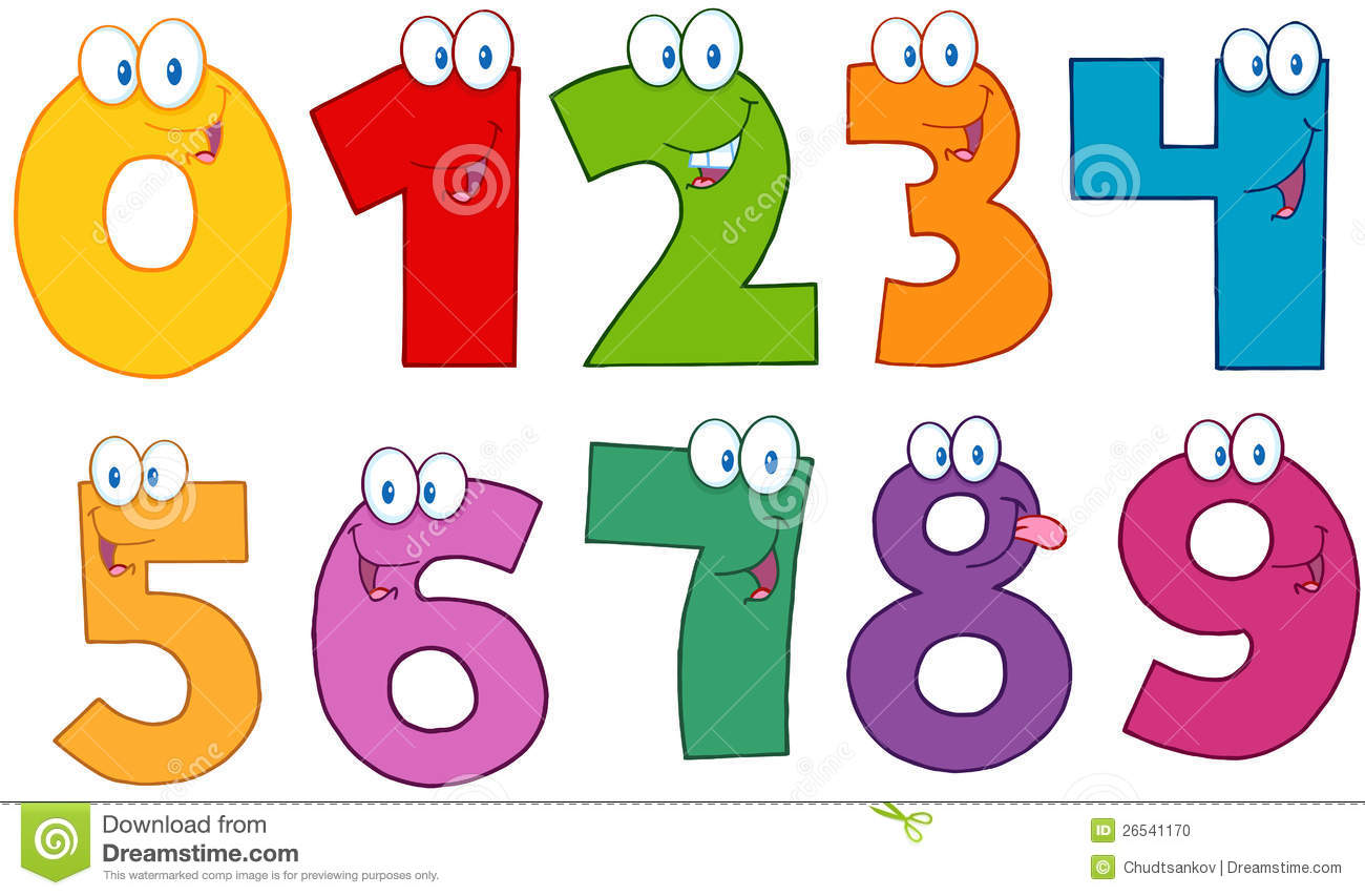 color funny numbers cartoon characters collection