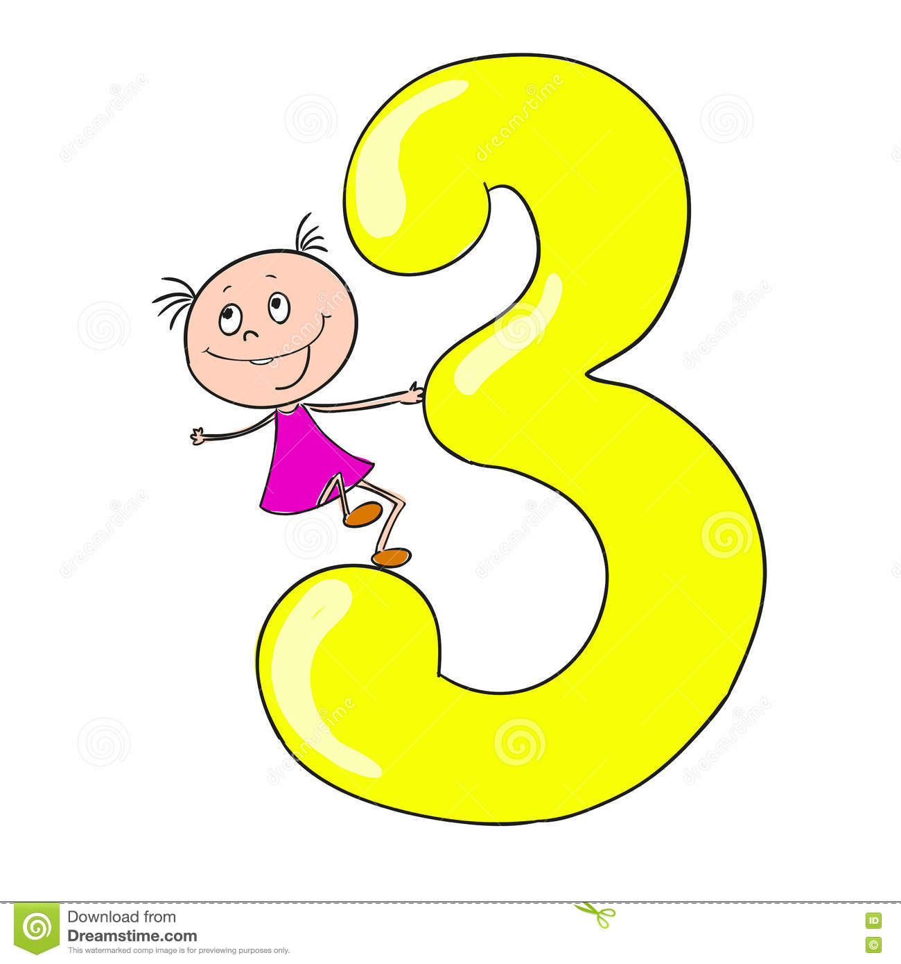 Funny Numbers With Cartoon Characters Children  3 Stock