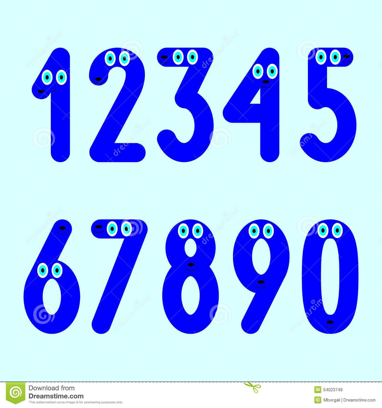 funny numbers set stock vector illustration of nill 54023749