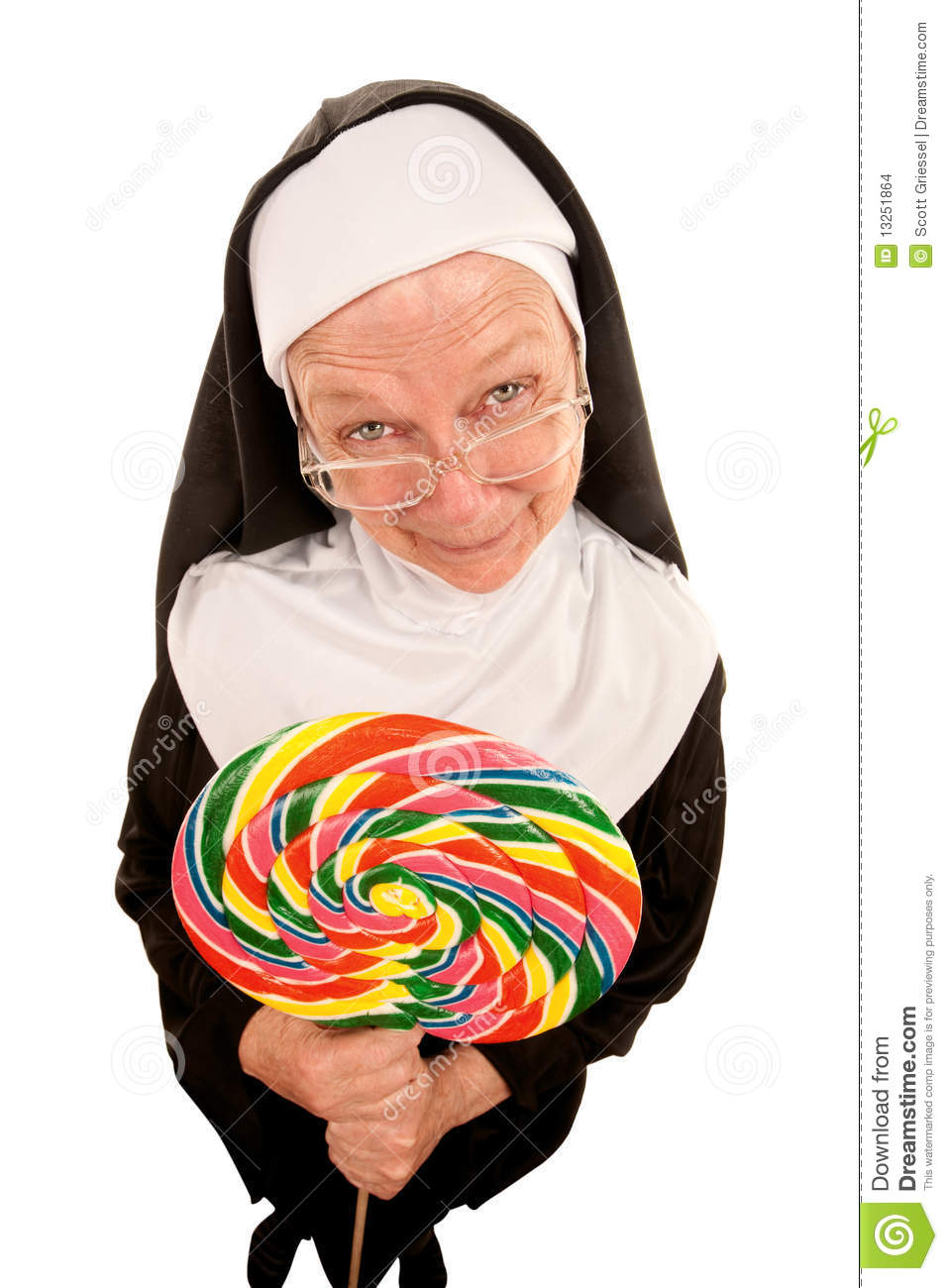 Funny nun with lollipop