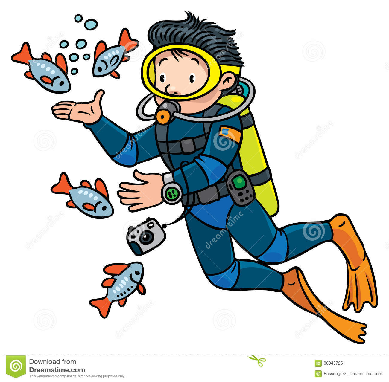 Funny Oceanographer Or Diver Stock Vector - Illustration ...