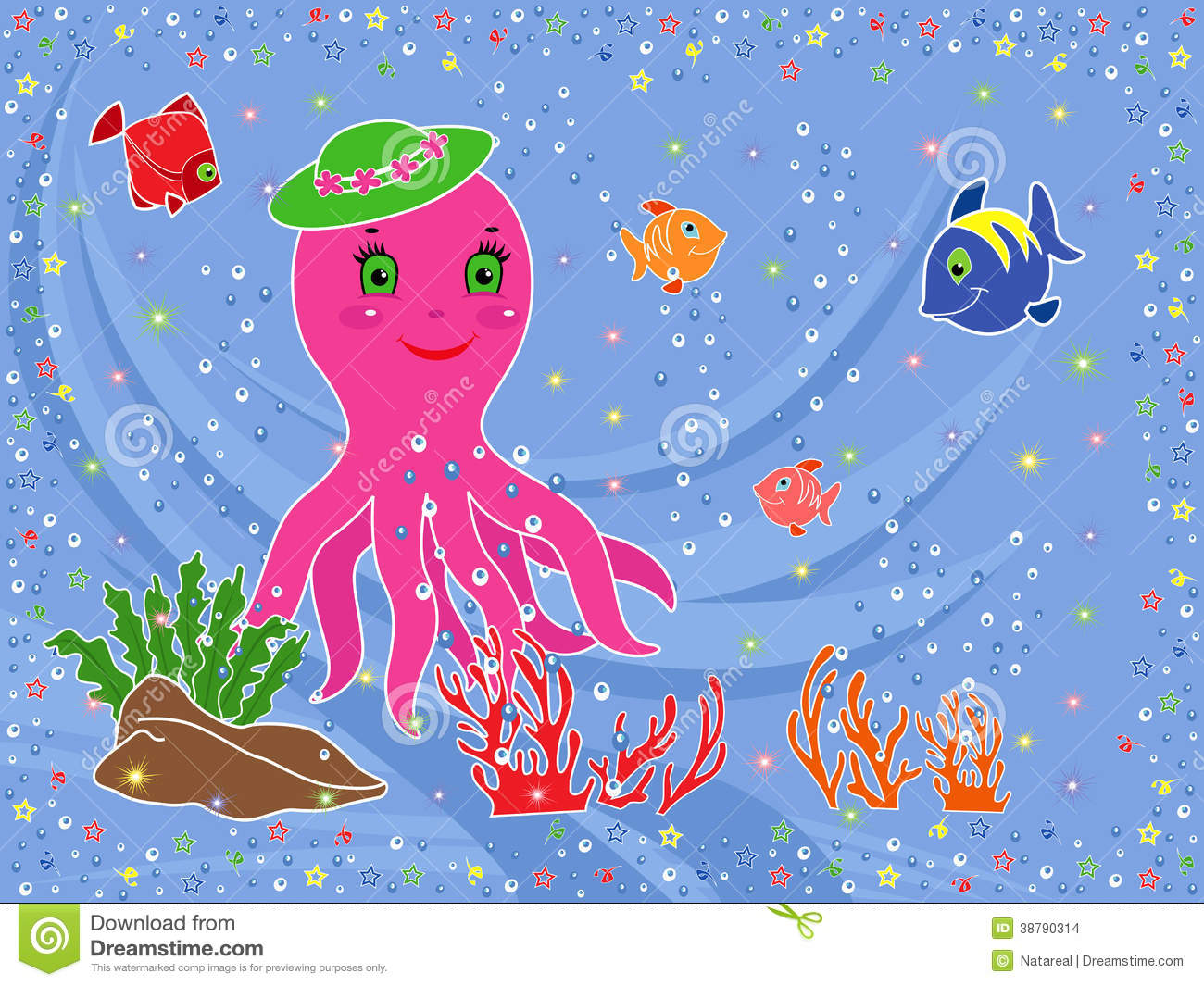 Funny Octopus And Underwater Marine Life Stock Vector ...
