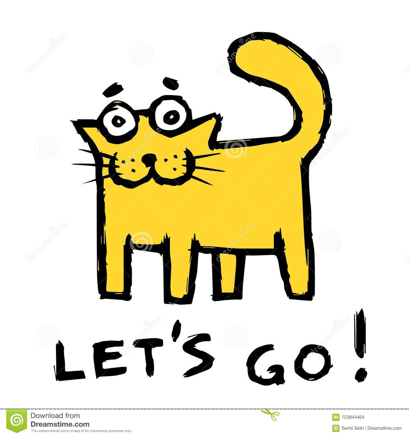 671475d150e Funny orange cat says lets go! Vector illustration. Royalty-Free Vector