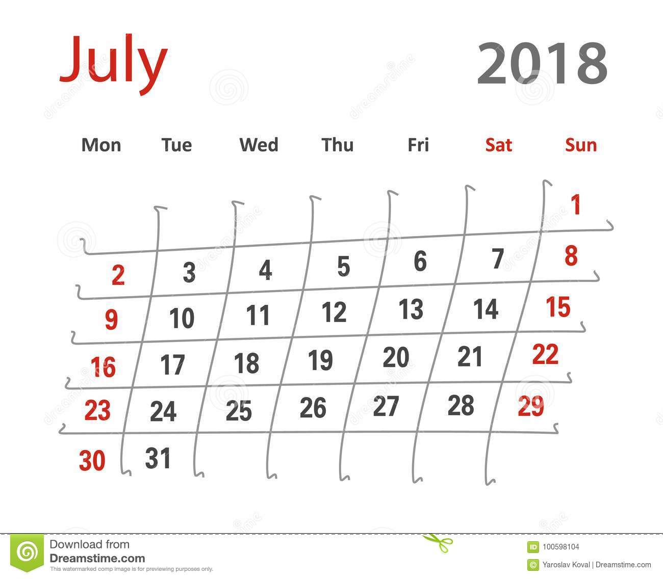 2018 Funny Original Grid Luly Creative Calendar Stock Illustration