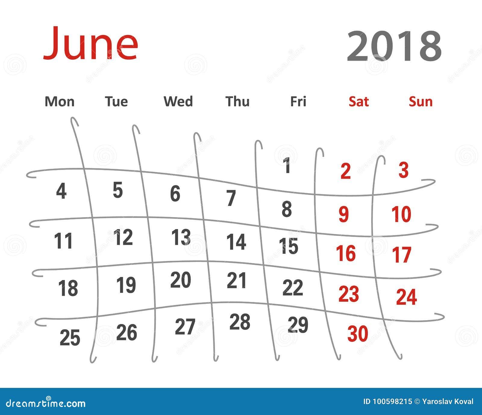 2018 funny original grid june creative calendar stock illustration