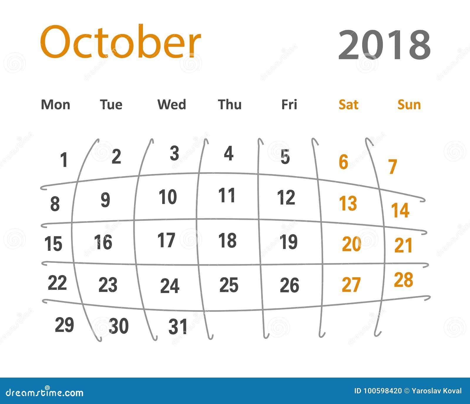 October Calendar Illustration : Funny original grid october creative calendar royalty
